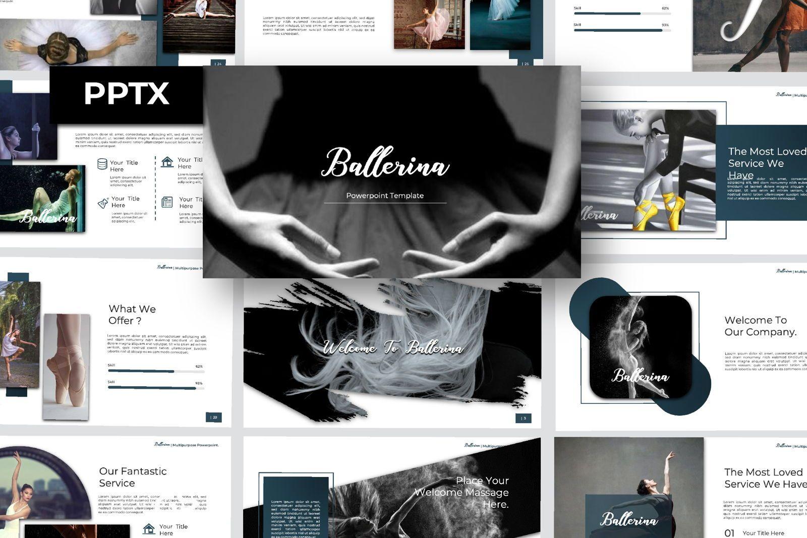 Ballerina Business Powerpoint, 07290, Presentation Templates — PoweredTemplate.com