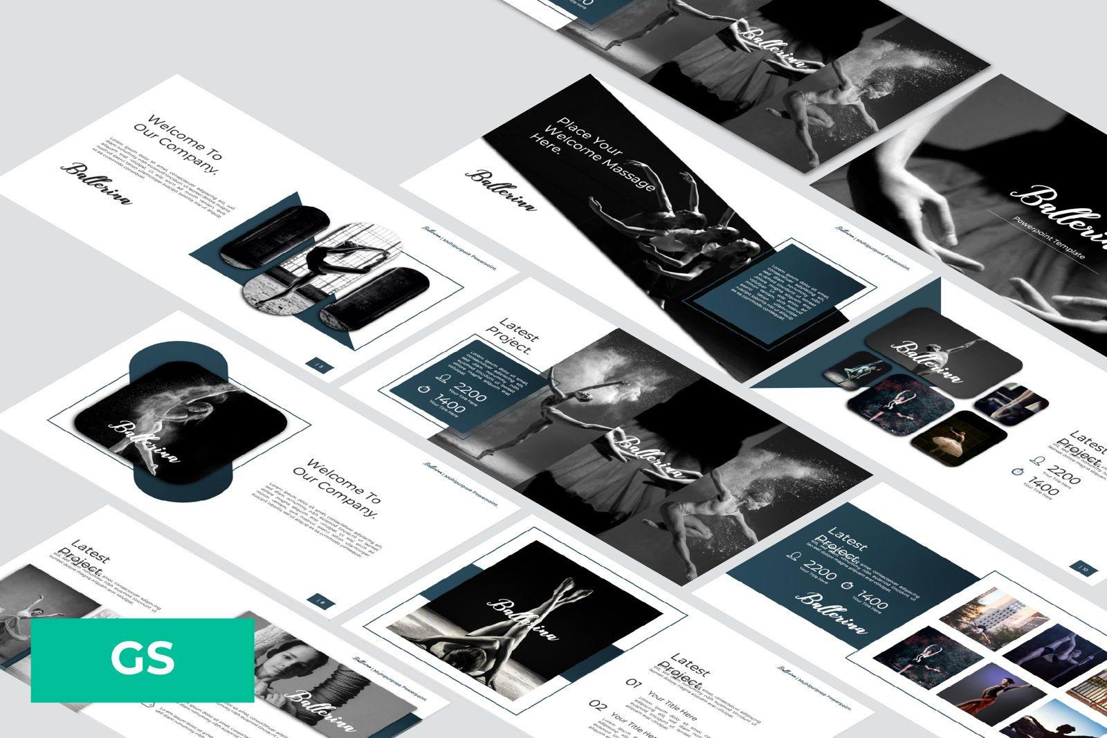 Ballerina Business Google Slide, 07295, Presentation Templates — PoweredTemplate.com