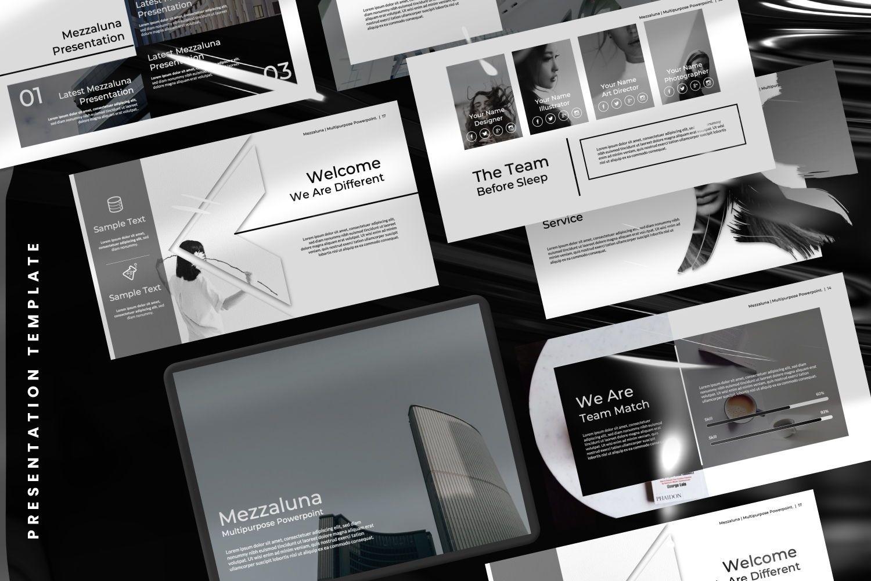Mezzaluna Business Powerpoint, 07318, Presentation Templates — PoweredTemplate.com
