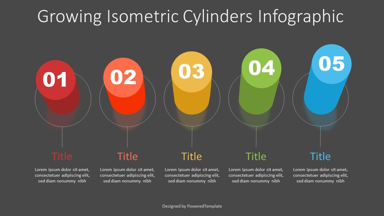Growing Isometric Cylinders Infographic, 07321, Infographics — PoweredTemplate.com