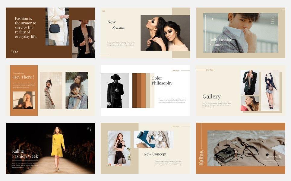 Kaline - Fashion Google Slide Template, Slide 3, 07330, Presentation Templates — PoweredTemplate.com