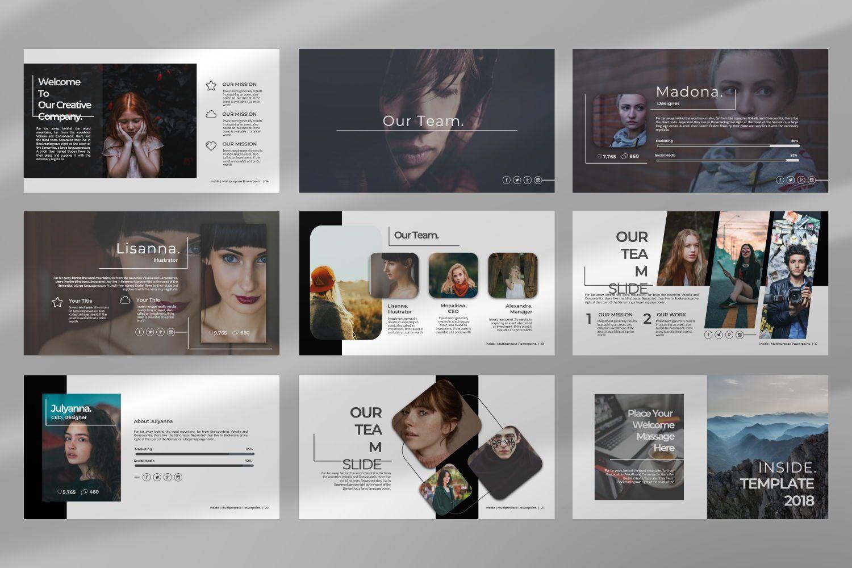 Inside Creative Keynote, Slide 8, 07343, Presentation Templates — PoweredTemplate.com