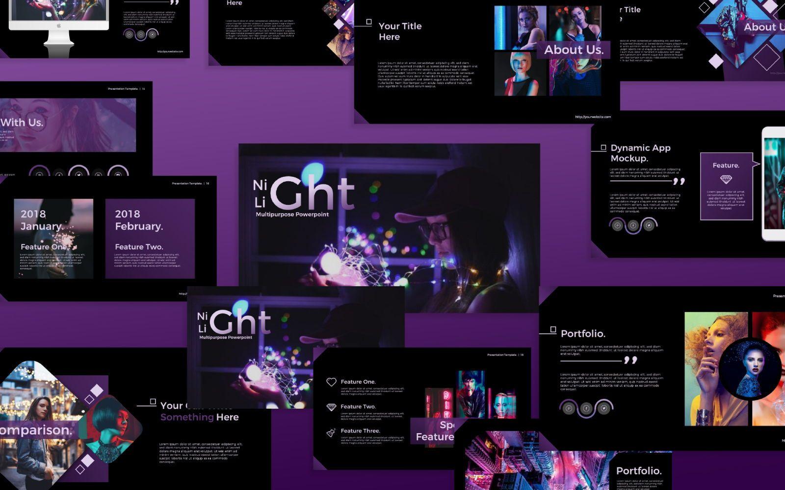 Night Light Business Google Slide, 07347, Presentation Templates — PoweredTemplate.com