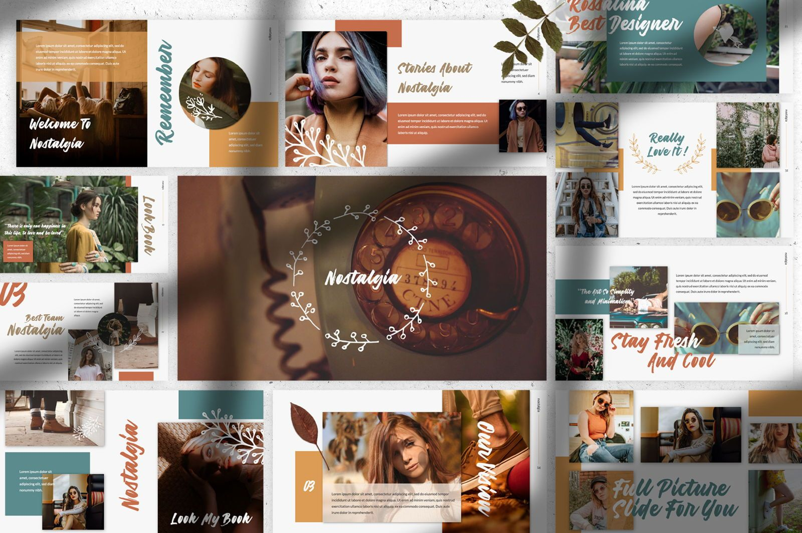 Nostalgia Brand Powerpoint, 07350, Presentation Templates — PoweredTemplate.com
