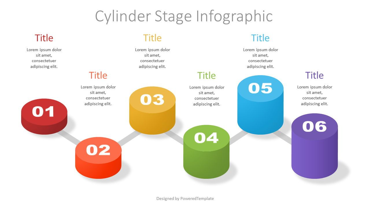 Cylinder Stage Infographic, 07364, Stage Diagrams — PoweredTemplate.com