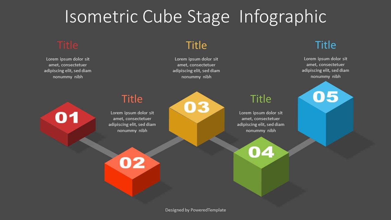 Isometric Cube Stage Infographic, 07386, Stage Diagrams — PoweredTemplate.com