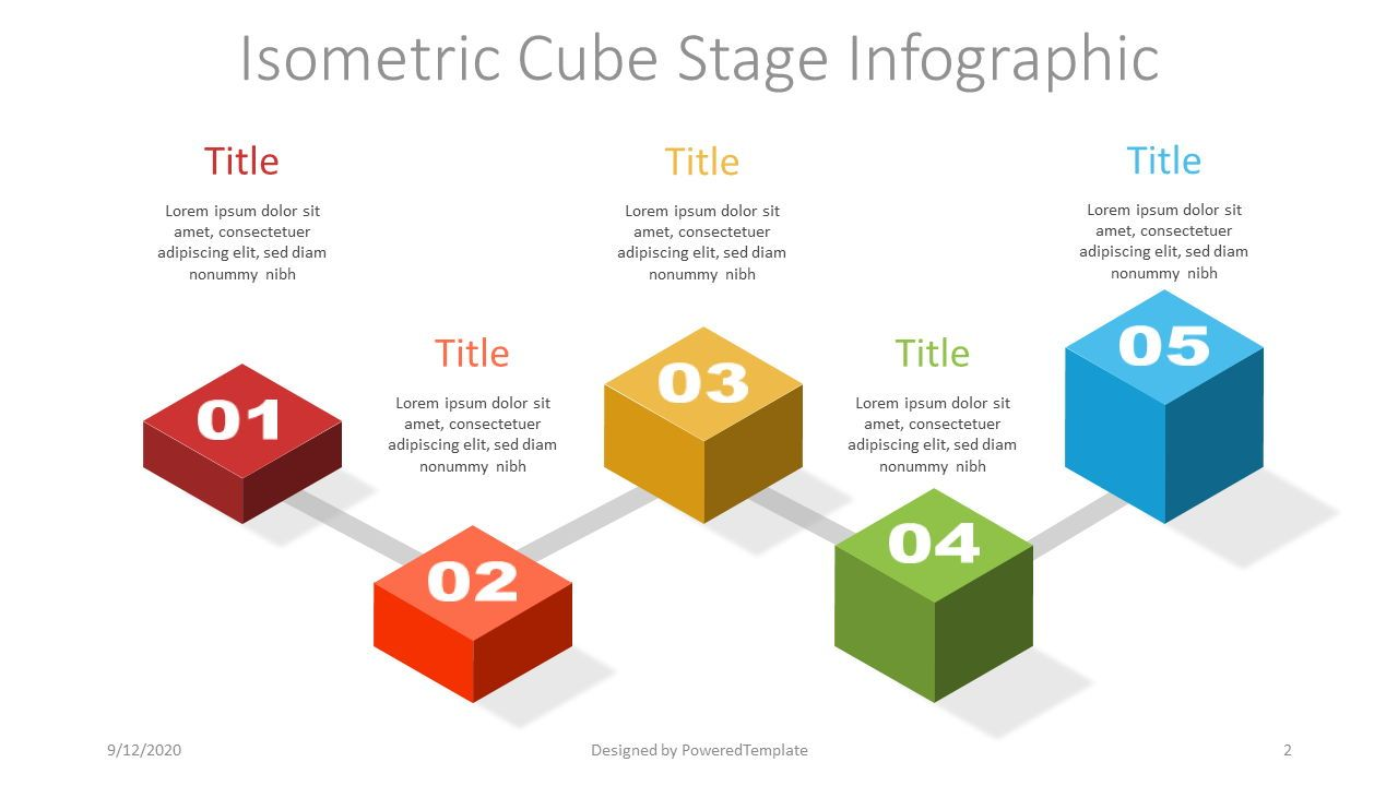 Isometric Cube Stage Infographic, Slide 2, 07386, Stage Diagrams — PoweredTemplate.com