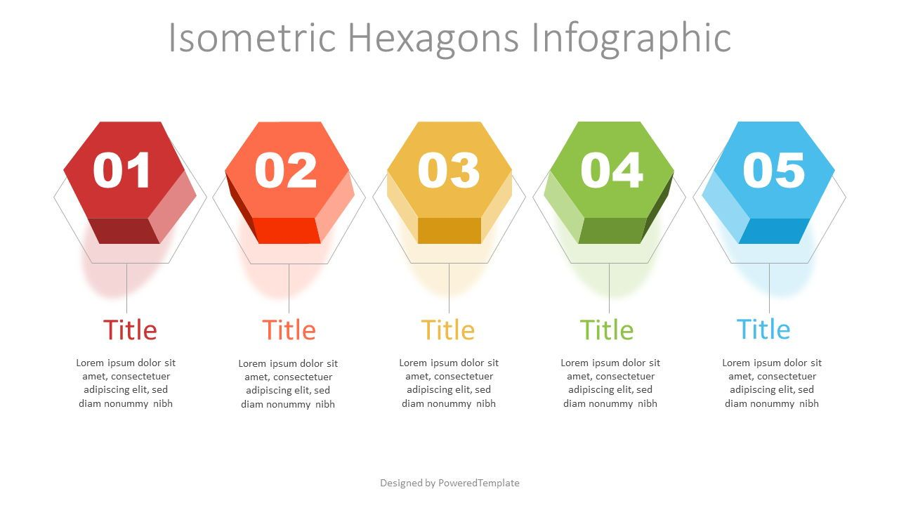 Isometric Hexagon Options, 07391, Infographics — PoweredTemplate.com