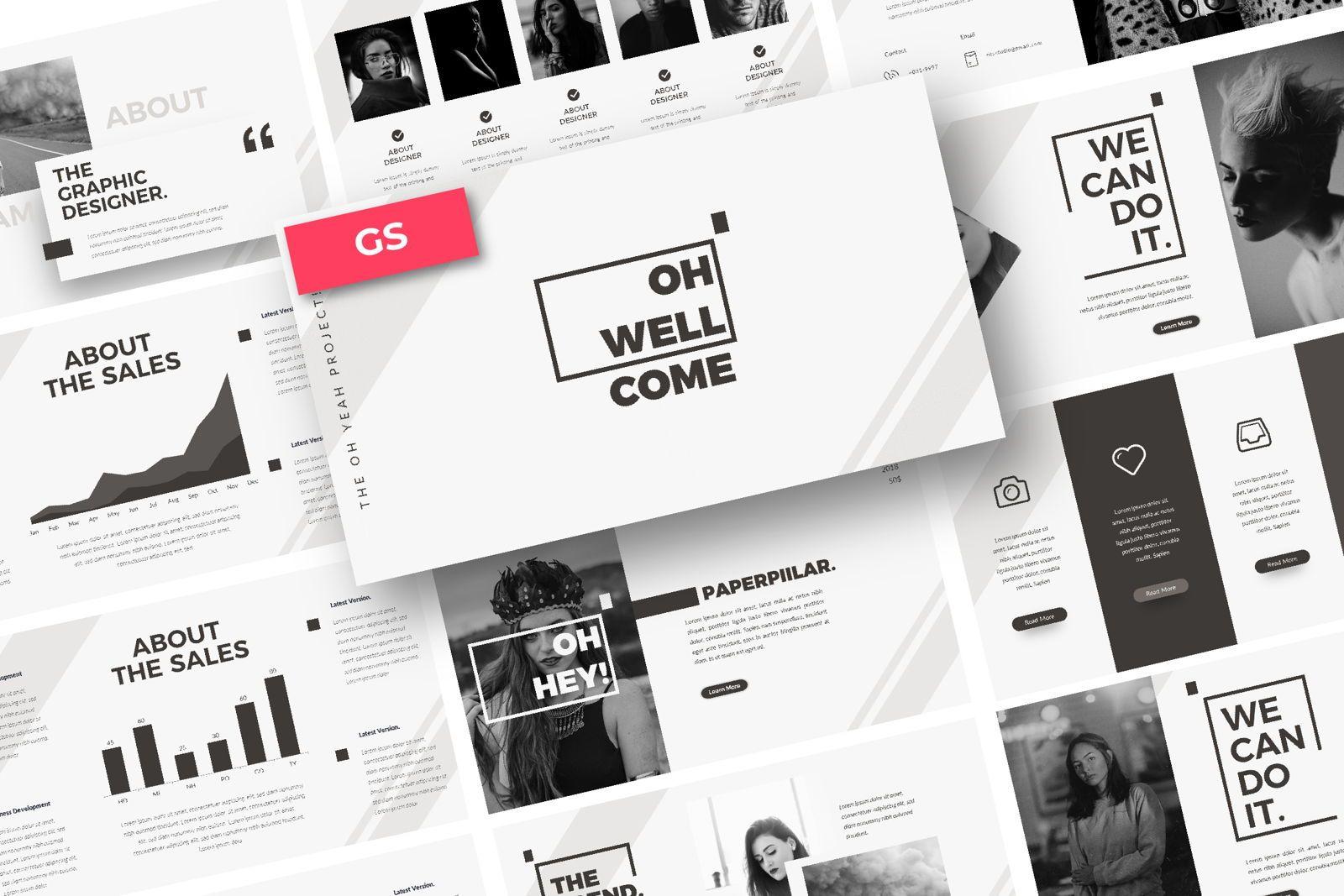 Oh Yeah Business Google Slide, 07392, Presentation Templates — PoweredTemplate.com