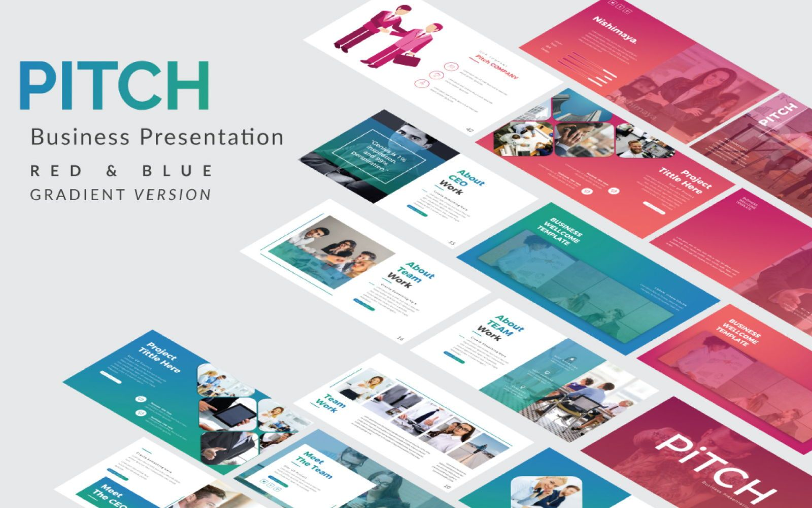 Pitch Deck Business Google Slide, 07406, Presentation Templates — PoweredTemplate.com