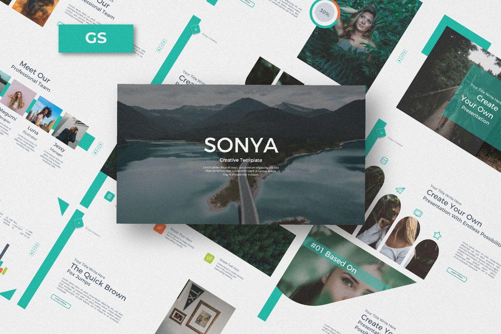 Sonya Creative Business Google Slide, 07410, Presentation Templates — PoweredTemplate.com