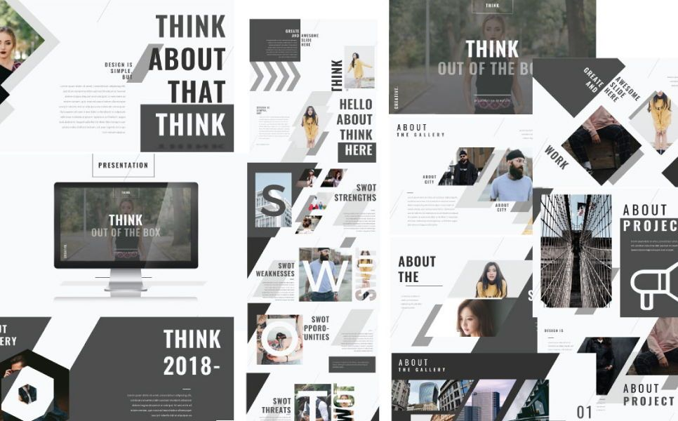 Think Creative Google Slide, 07415, Presentation Templates — PoweredTemplate.com
