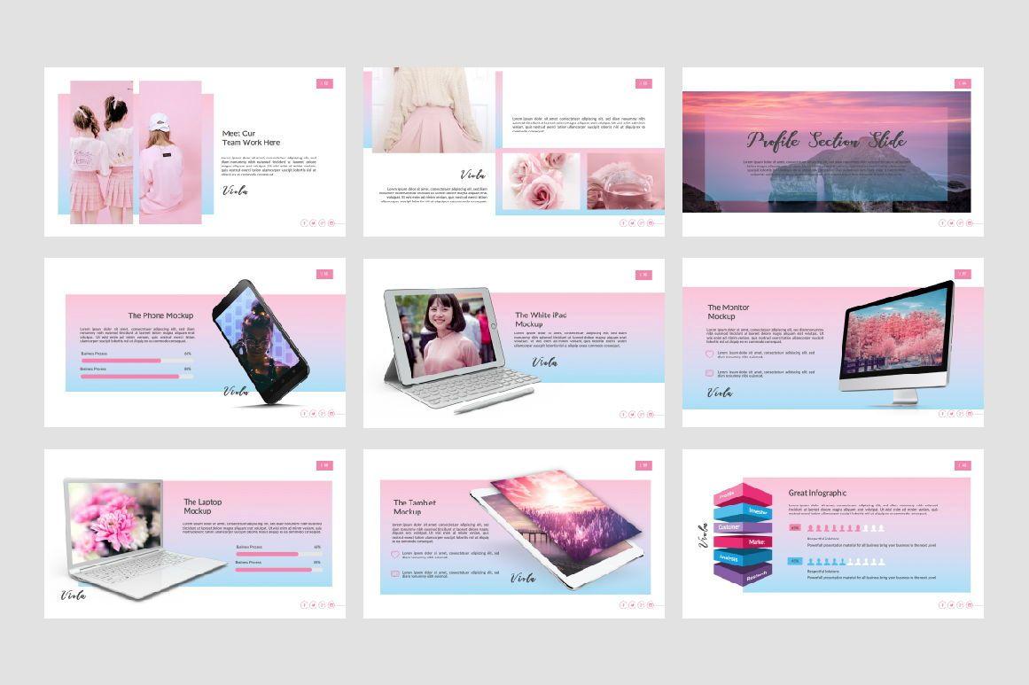 Viona Creative Google Slide, Slide 5, 07417, Presentation Templates — PoweredTemplate.com