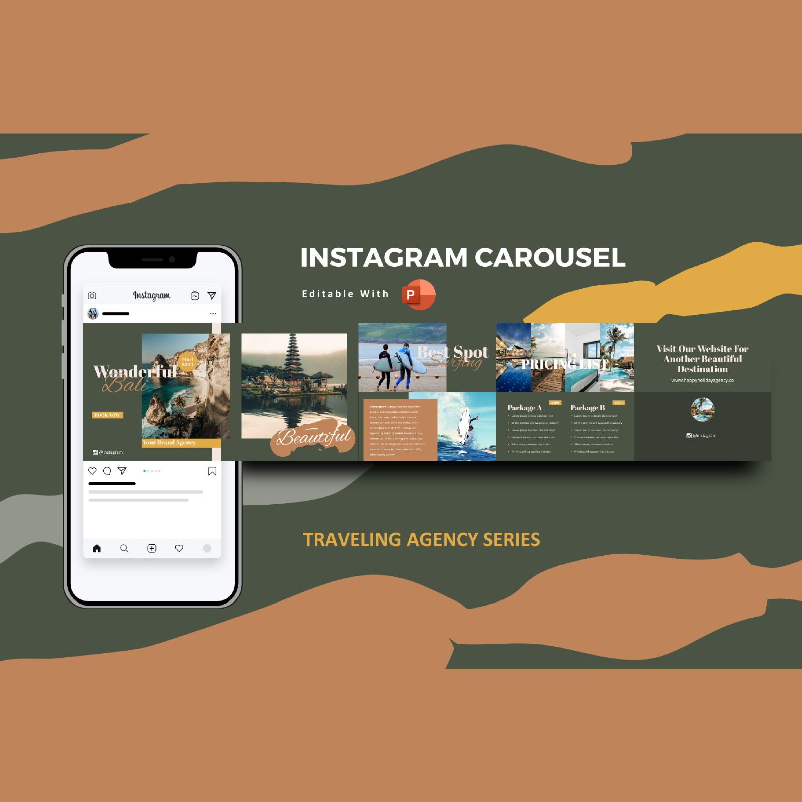 Traveling agency tour instagram carousel powerpoint template, 07432, Business Models — PoweredTemplate.com