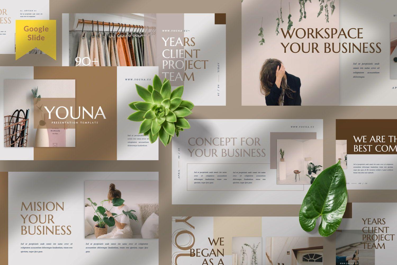 Youna Creative Google Slide, 07437, Presentation Templates — PoweredTemplate.com