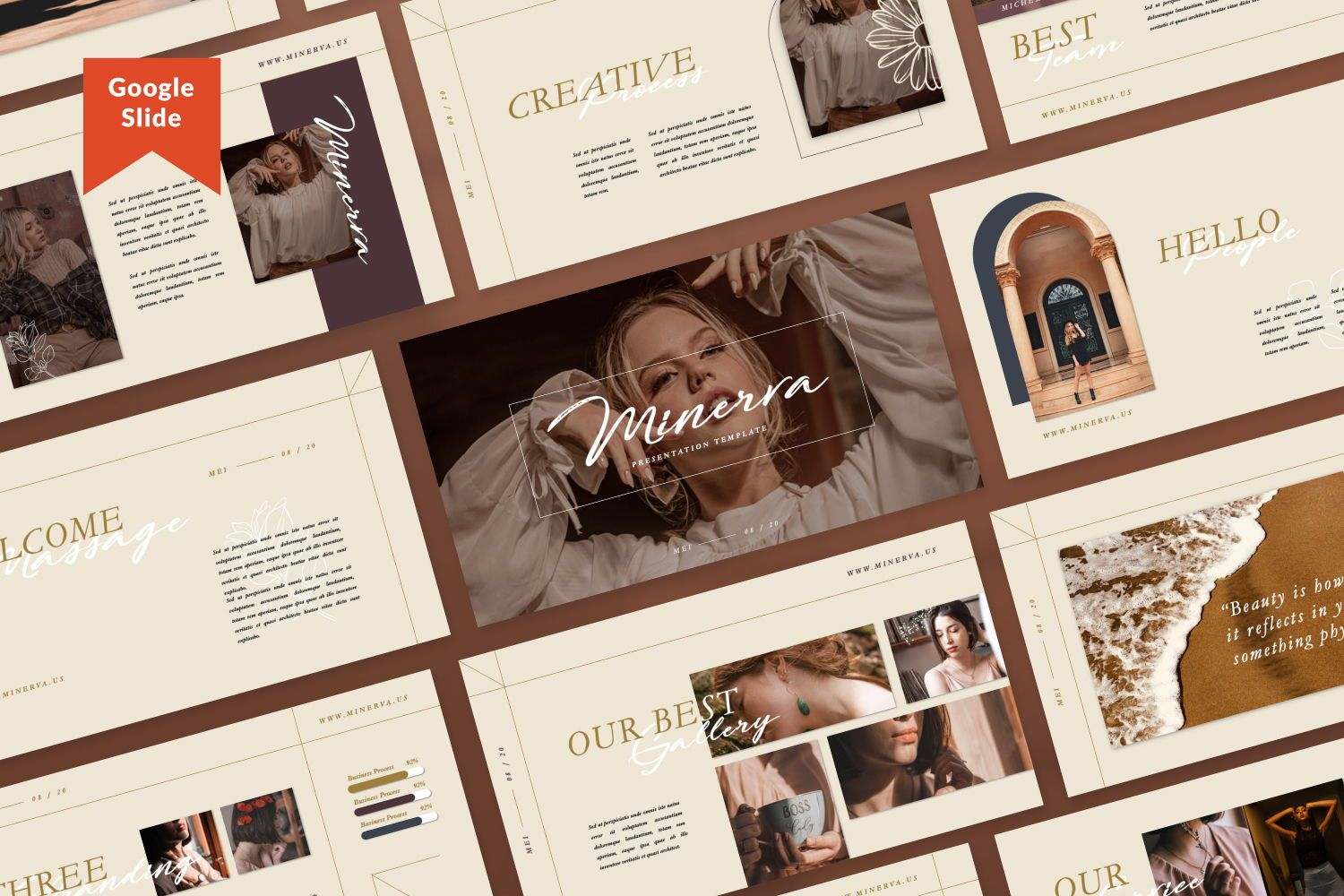 Minerva Creative Google Slide, 07438, Presentation Templates — PoweredTemplate.com