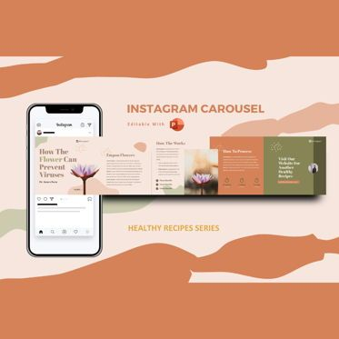 Infographics: Healthy tips recipes instagram carousel powerpoint template #07447
