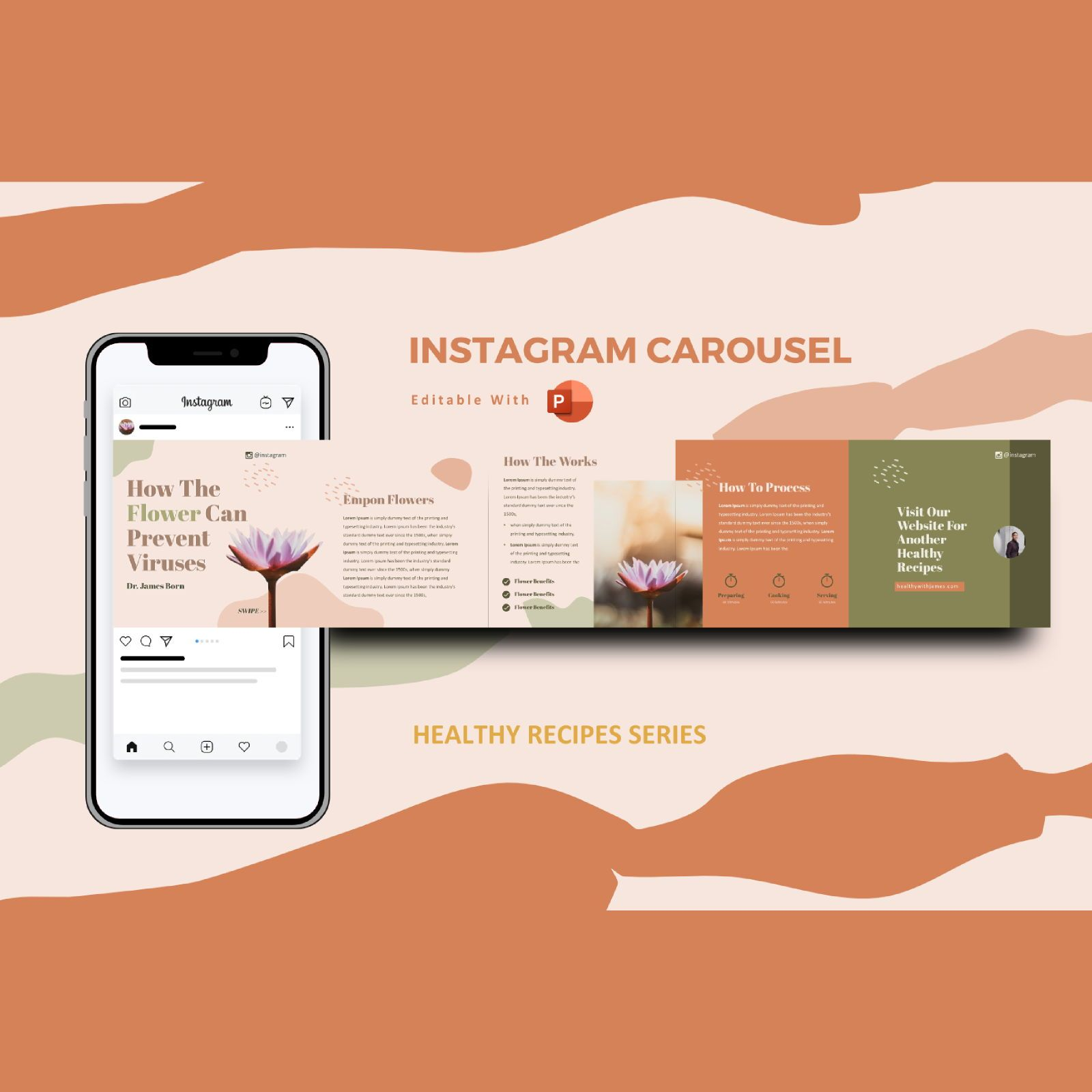 Healthy tips recipes instagram carousel powerpoint template, 07447, Infographics — PoweredTemplate.com