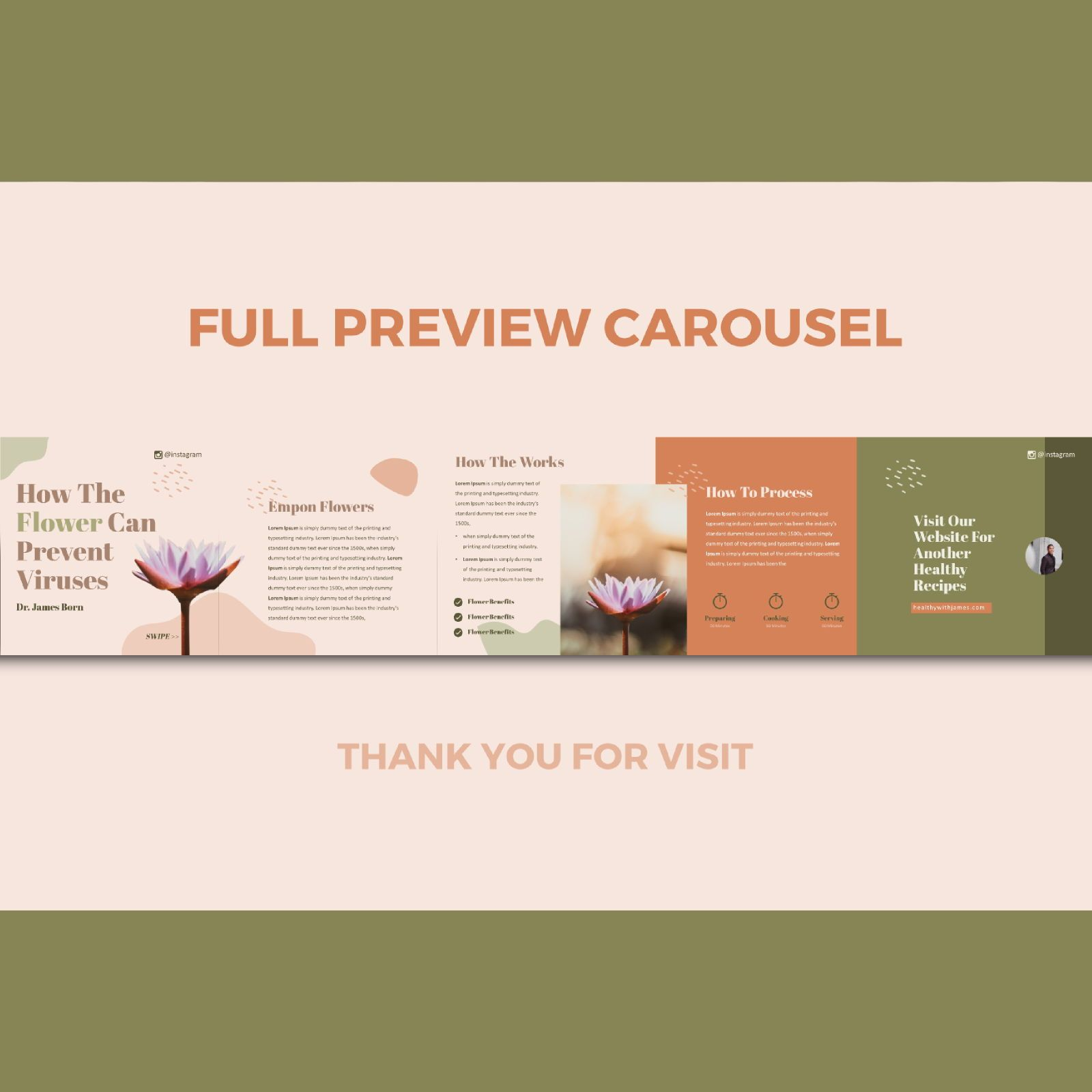 Healthy tips recipes instagram carousel powerpoint template, Slide 3, 07447, Infographics — PoweredTemplate.com