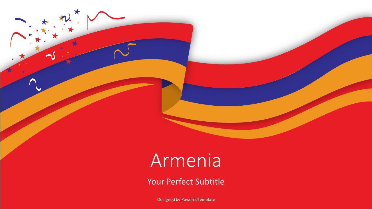 Armenia Flag Cover Slide, 07458, Presentation Templates — PoweredTemplate.com