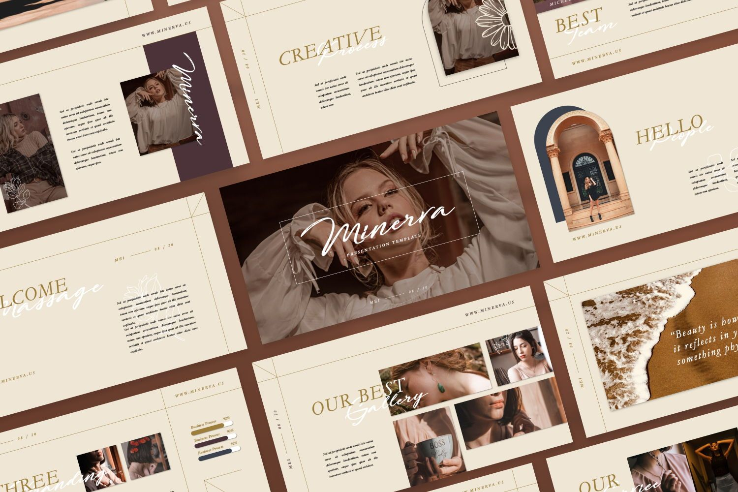 Minerva Creative Powerpoint, 07466, Presentation Templates — PoweredTemplate.com