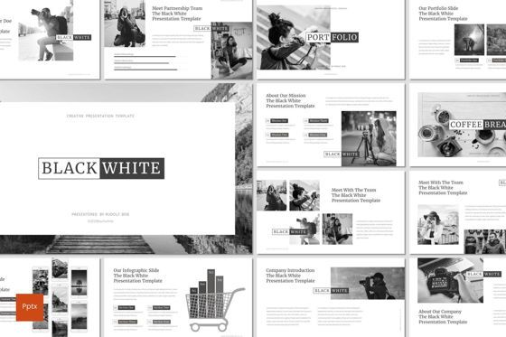 Presentation Templates: Black and White - PowerPoint Template #07473