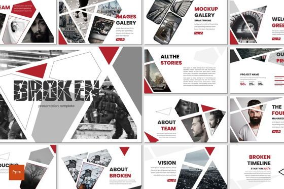 Presentation Templates: Broken - PowerPoint Template #07480