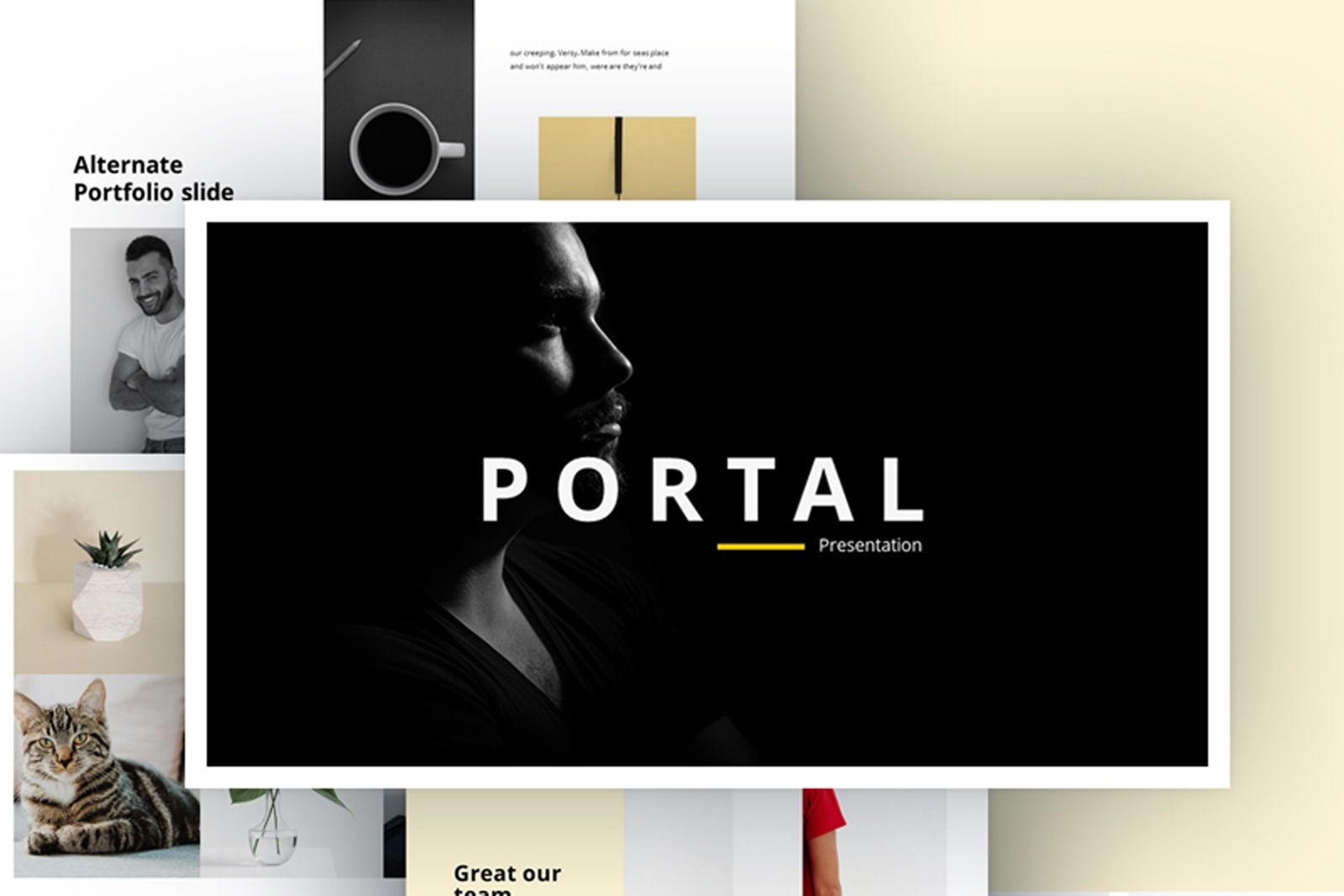 Portfolio Powerpoint Template, 07515, Presentation Templates — PoweredTemplate.com