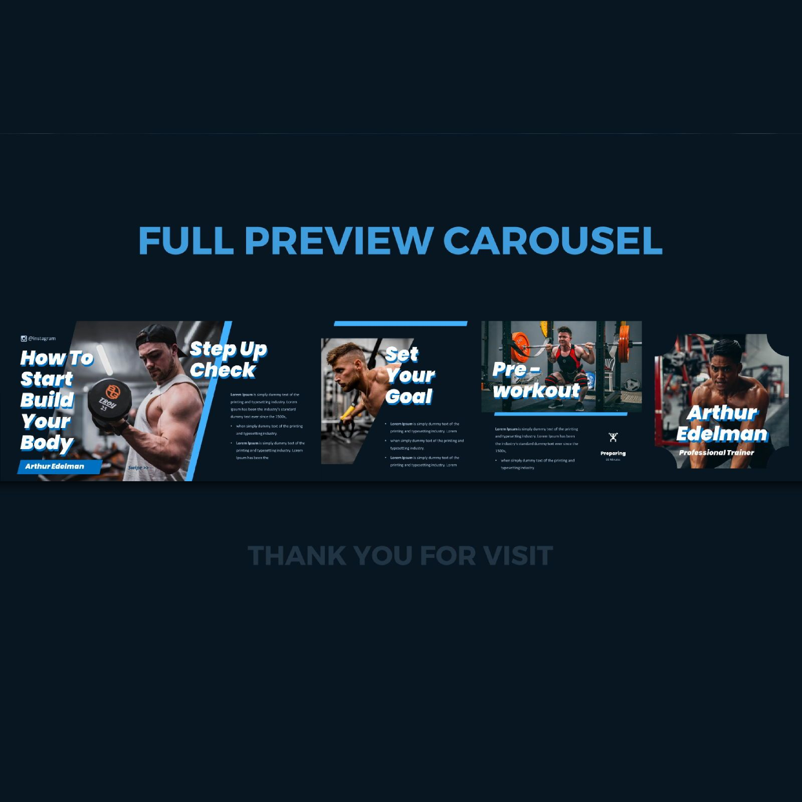 Gym trainer instagram carousel powerpoint template, Slide 3, 07529, Infographics — PoweredTemplate.com