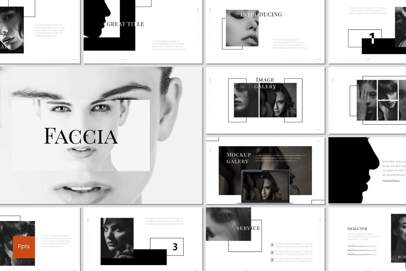 Faccia - PowerPoint Template, 07543, Presentation Templates — PoweredTemplate.com