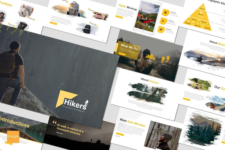 Hikers - Google Slides Template, 07551, Presentation Templates — PoweredTemplate.com