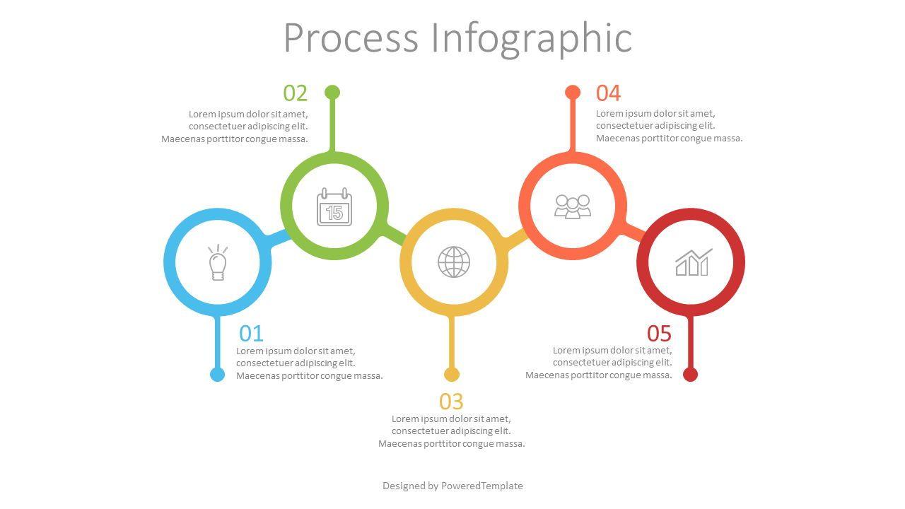 5 Connected Circles Infographic, 07552, Process Diagrams — PoweredTemplate.com