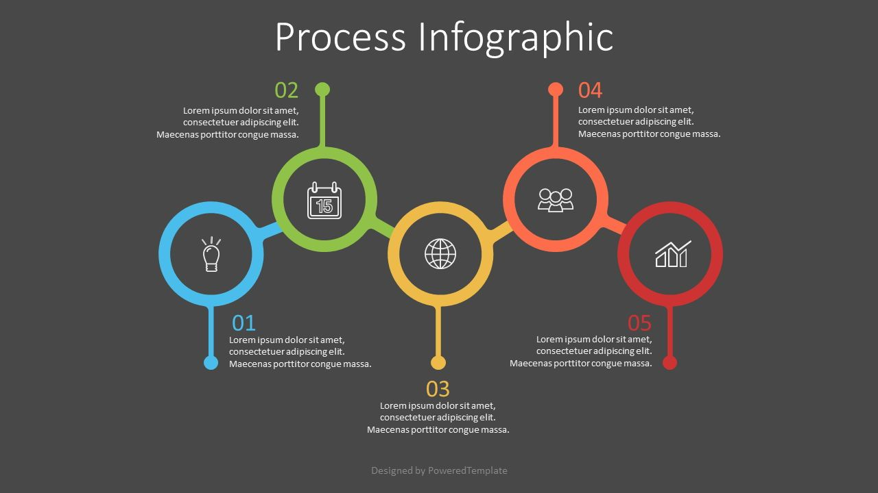 5 Connected Circles Infographic, Slide 2, 07552, Process Diagrams — PoweredTemplate.com