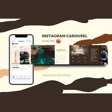 Presentation Templates: Traveling tips instagram carousel powerpoint template #07558