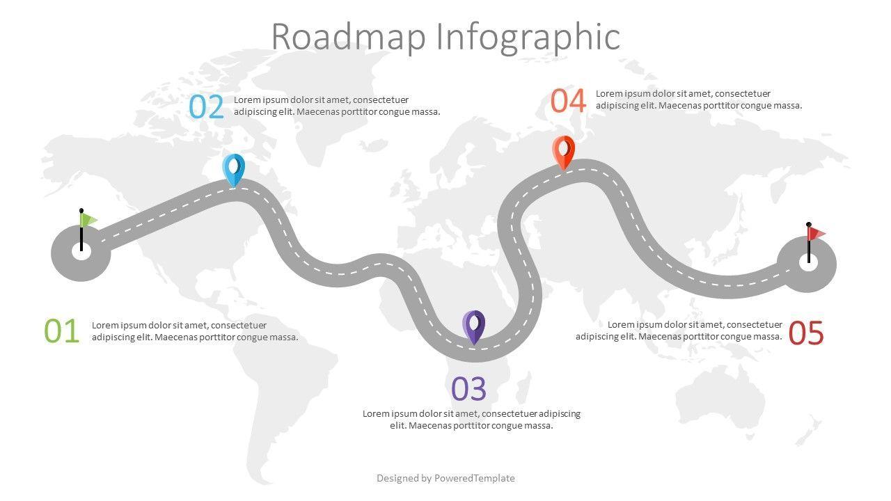 Road with Milestones Infographic, 07563, Presentation Templates — PoweredTemplate.com