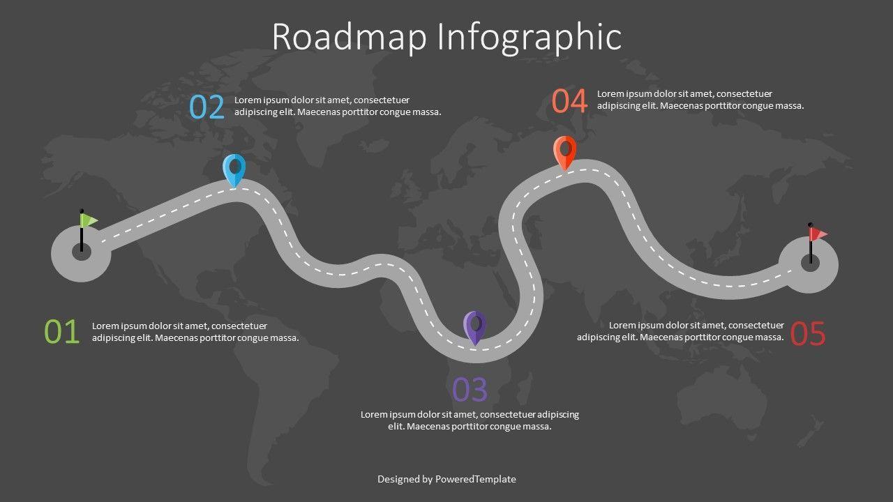 Road with Milestones Infographic, Slide 2, 07563, Presentation Templates — PoweredTemplate.com