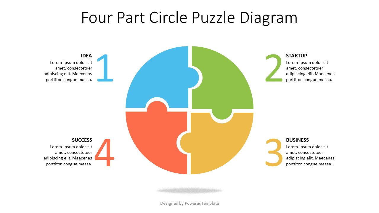 Four Part Circle Puzzle Diagram, 07570, Puzzle Diagrams — PoweredTemplate.com
