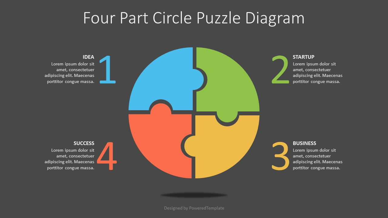 Four Part Circle Puzzle Diagram, Slide 2, 07570, Puzzle Diagrams — PoweredTemplate.com