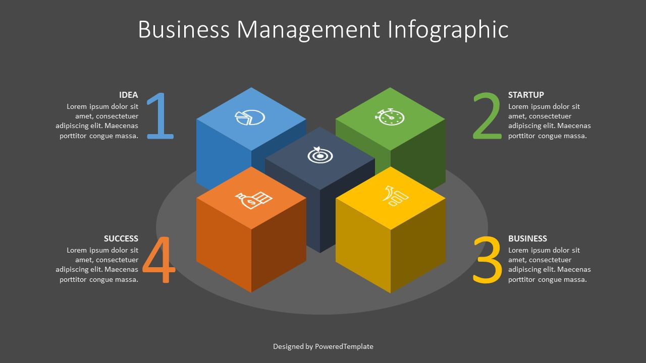 Business Infographics Cube, 07573, Infographics — PoweredTemplate.com