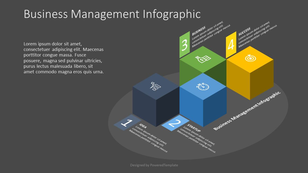 4 Isometric Cube Infographic, Slide 2, 07575, Infographics — PoweredTemplate.com