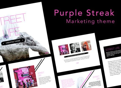 Presentation Templates: Purple Streak Keynote Presentation Template #07579