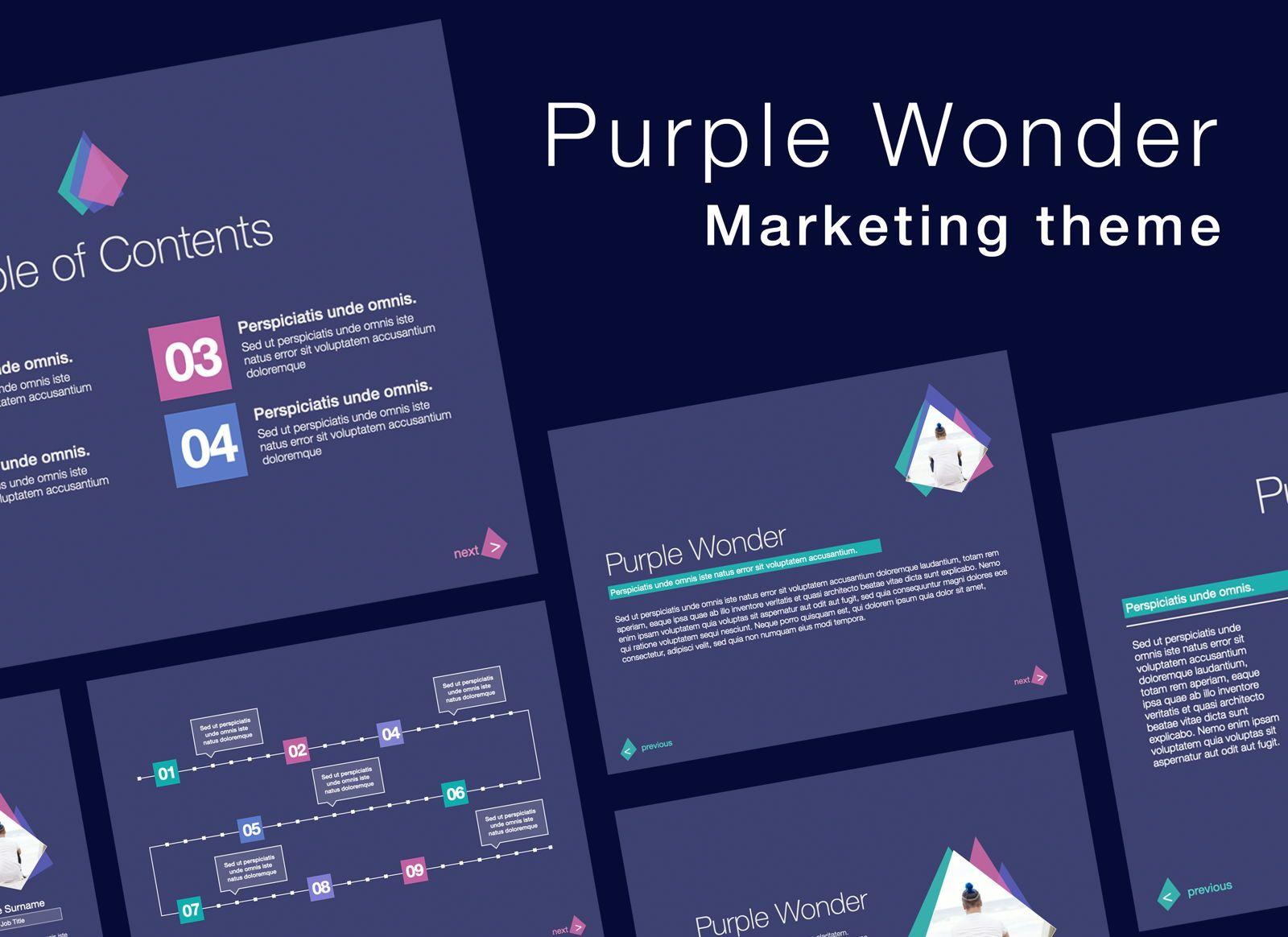 Purple Wonder Keynote Presentation Template, 07581, Presentation Templates — PoweredTemplate.com