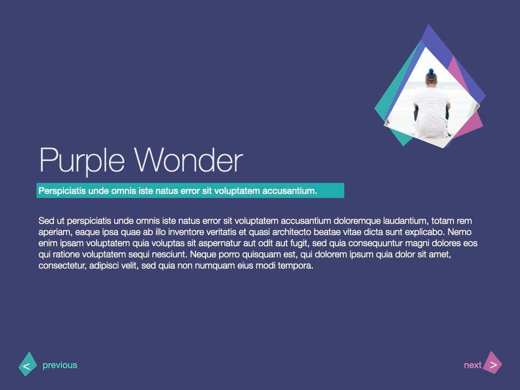 Purple Wonder Keynote Presentation Template, Slide 17, 07581, Presentation Templates — PoweredTemplate.com