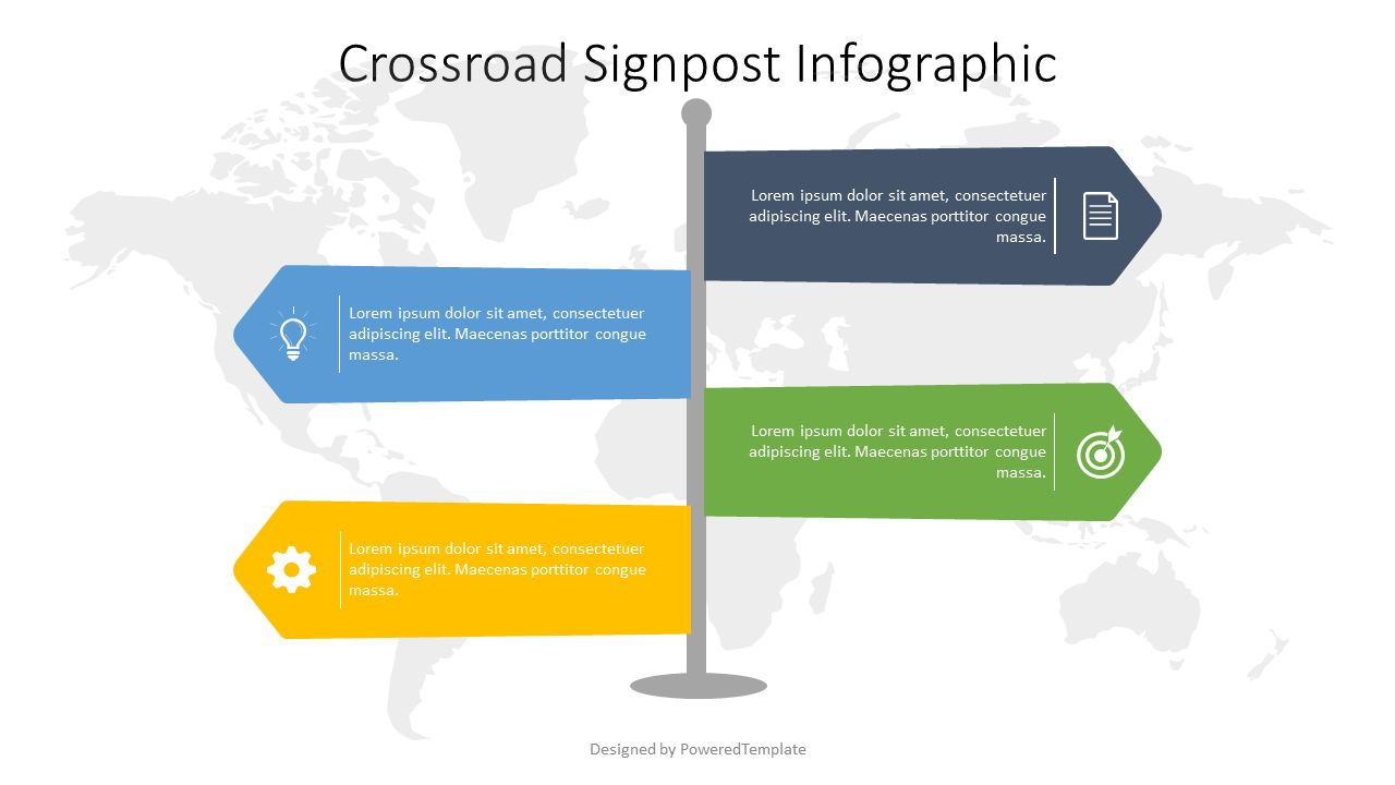 Crossroad Signpost Infographic, 07583, Infographics — PoweredTemplate.com