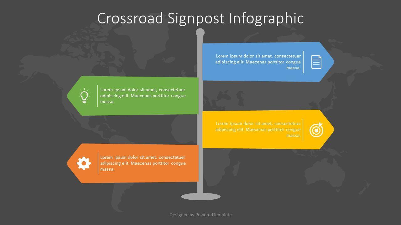 Crossroad Signpost Infographic, Slide 2, 07583, Infographics — PoweredTemplate.com