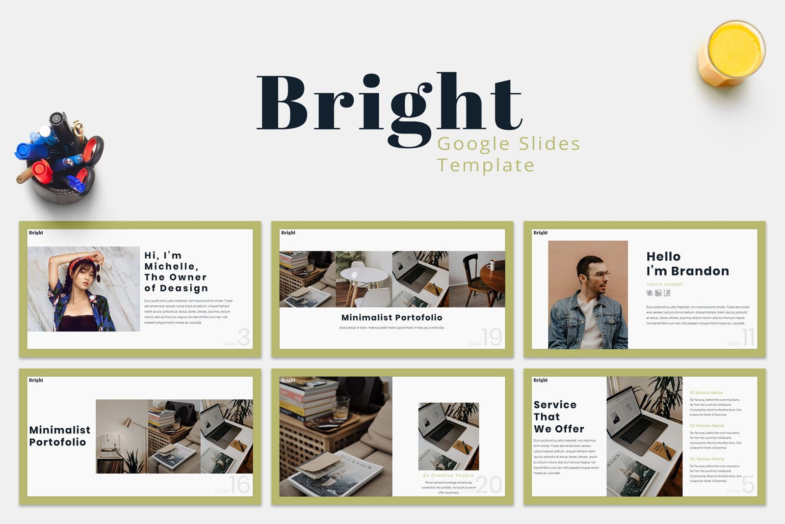 Bright - Google Slides Template, 07587, Presentation Templates — PoweredTemplate.com