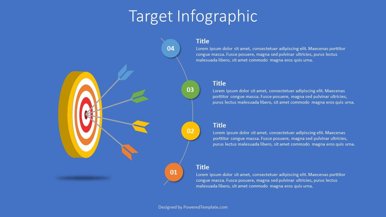 4 Arrows Hitting Target Infographic, 07606, Infographics — PoweredTemplate.com