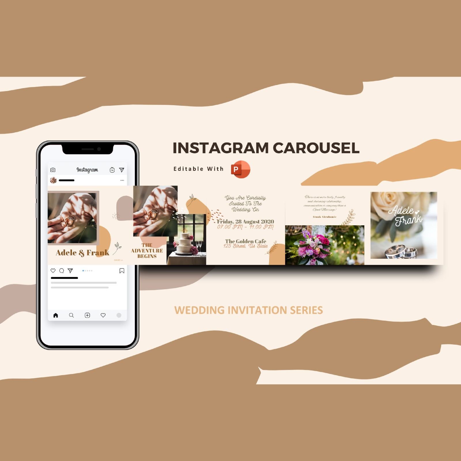 Wedding invitation instagram carousel powerpoint template, 07608, Presentation Templates — PoweredTemplate.com