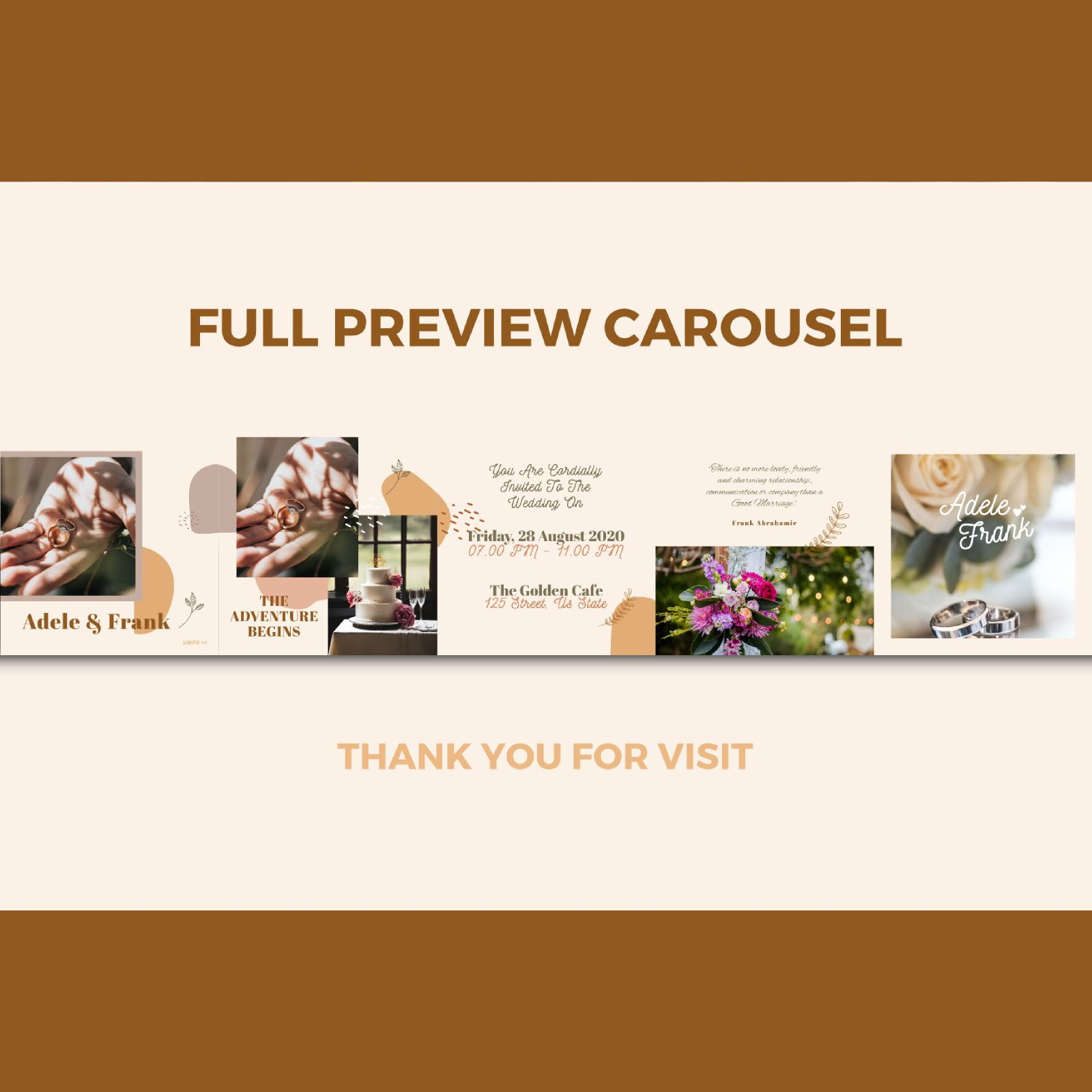 Wedding invitation instagram carousel powerpoint template, Slide 3, 07608, Presentation Templates — PoweredTemplate.com