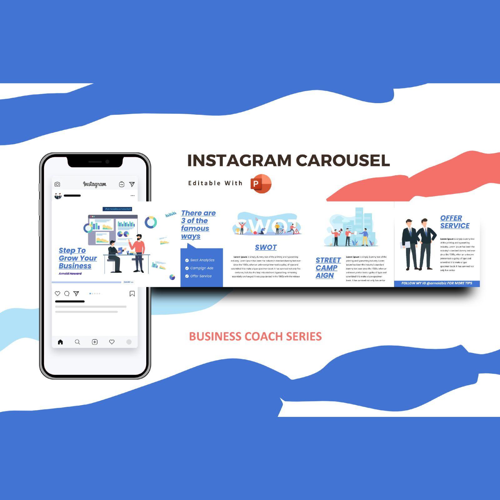 Business coaching instagram carousel powerpoint template, 07612, Business Models — PoweredTemplate.com